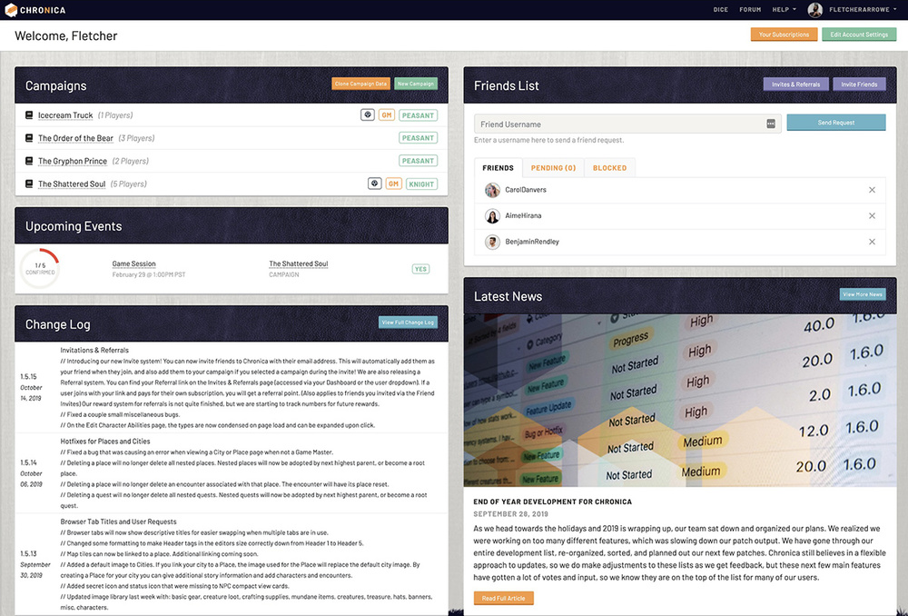 Manage your campaigns and settings from the user dashboard
