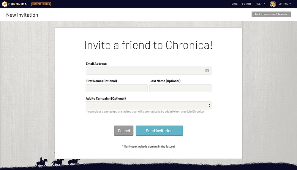 Invite a friend to Chronica and your campaign
