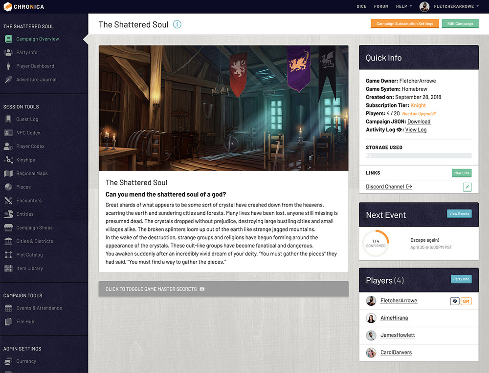 Campaign overview page shows main details of campaign