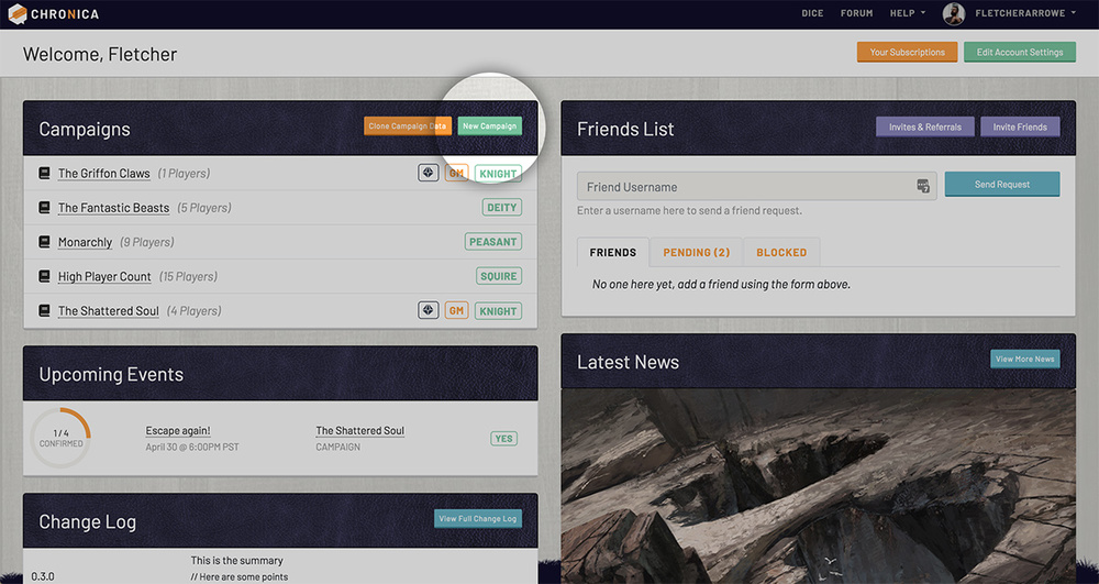 Create a new campaign from your user dashboard