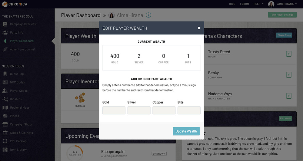 Edit and track your player wealth on Chronica