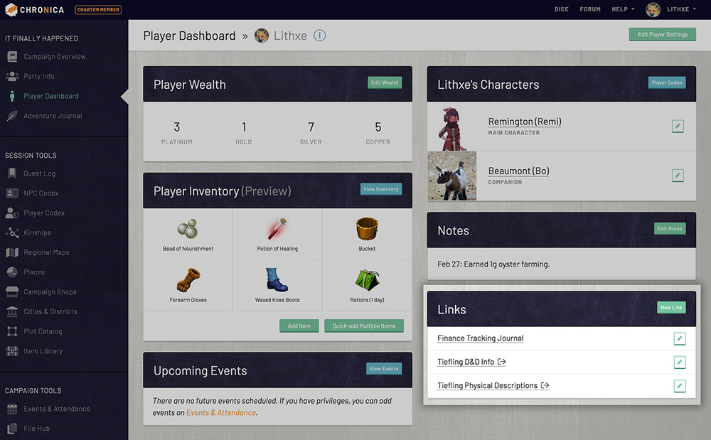 View your personal links on your player dashboard