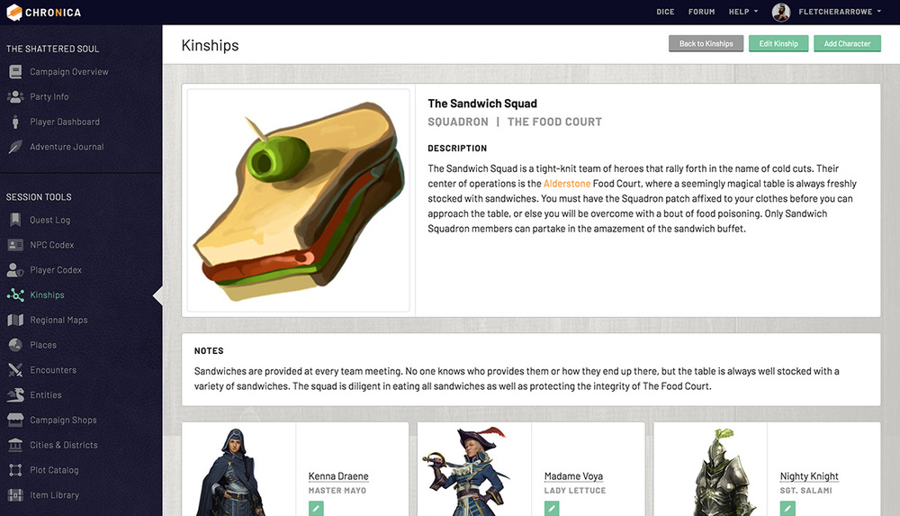 View the full kinship profile to see characters