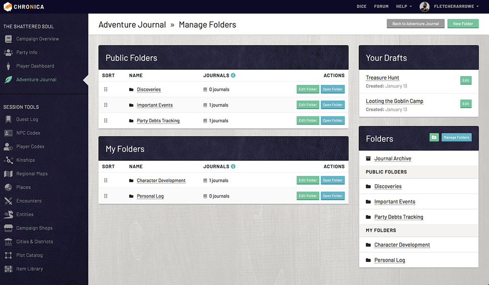 Manage your adventure journal folders on Chronica