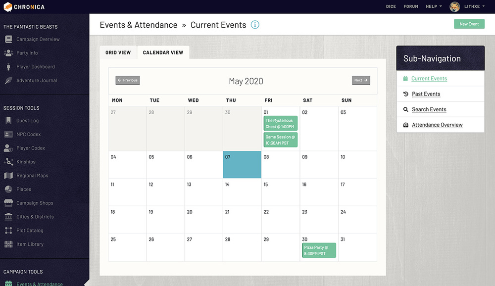 View your current campaign events in a convenient calendar