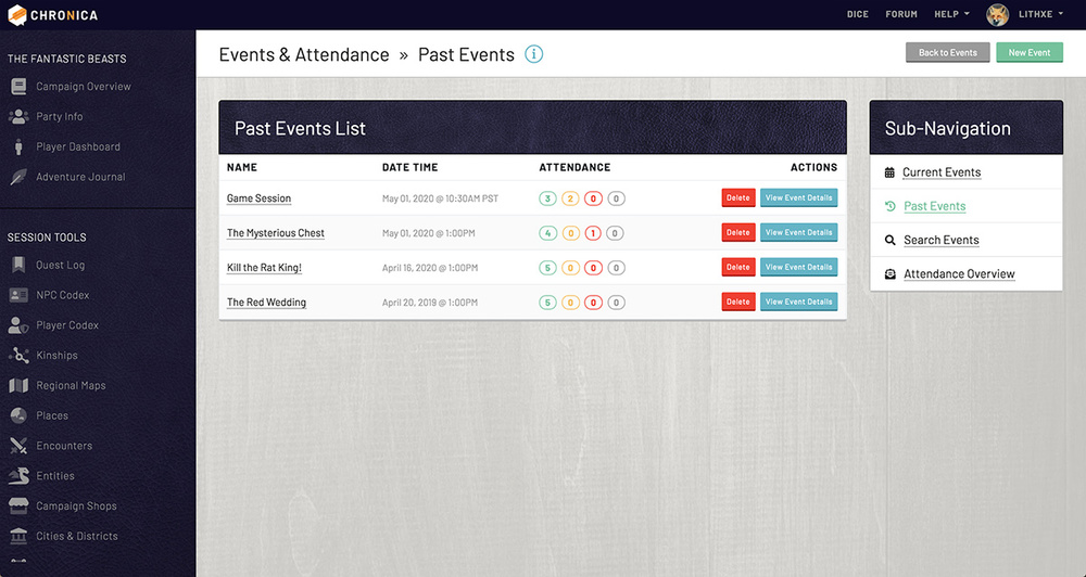 View your past events on Chronica to remember details or player attendance