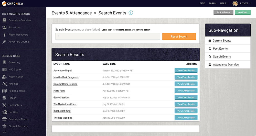 Search all of your campaign events