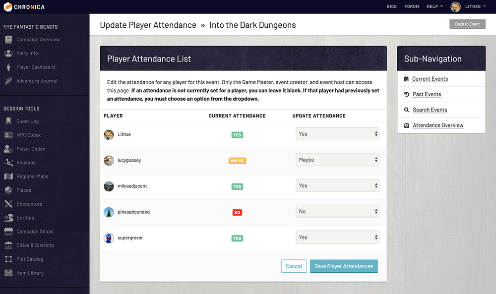 Update all player attendance for events on a single screen