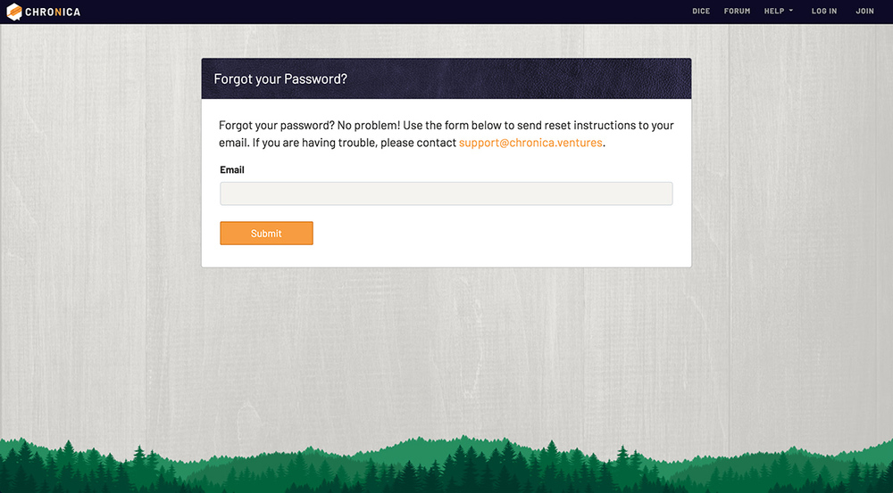 Forgot password screen