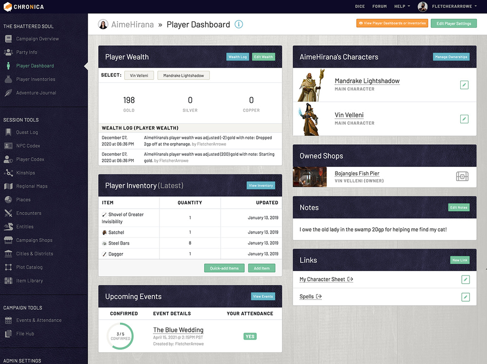 View your personal player dashboard to track wealth, inventory, and more