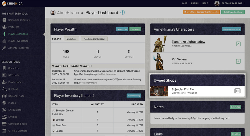View and access your owned shops right from your player dashboard
