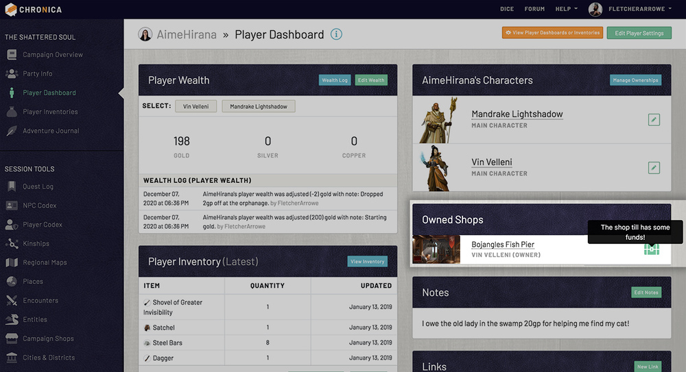 Check your shop till for funds on your player dashboard