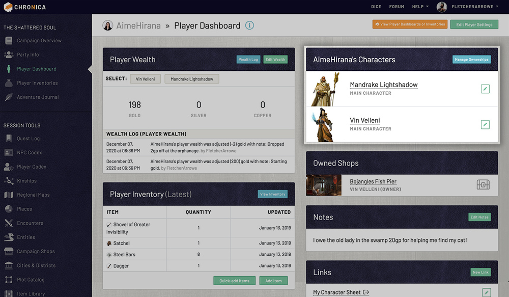 View your characters from your player dashboard