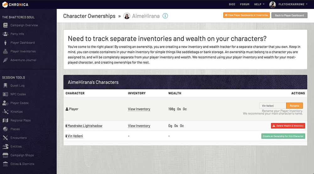 Manage ownerships to track wealth and inventory across multiple characters