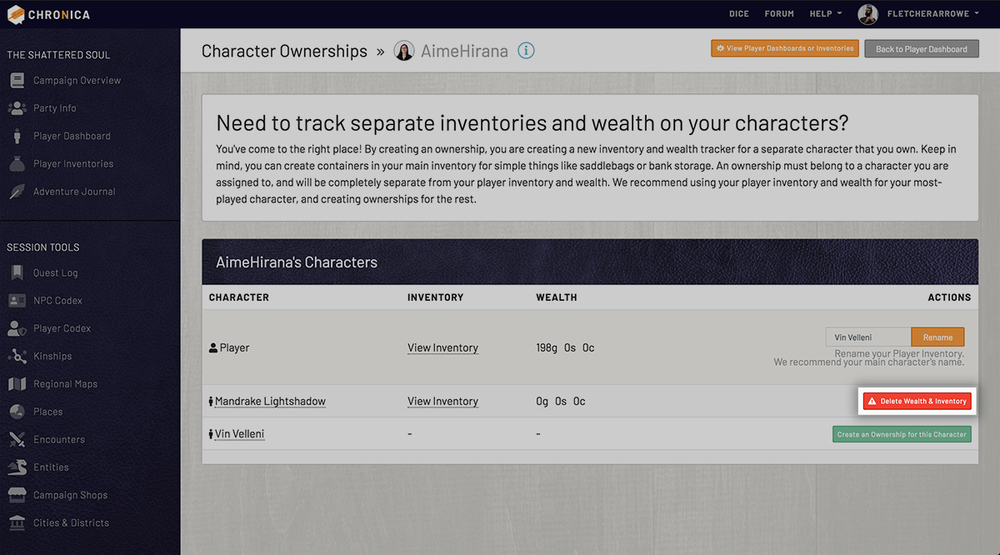 Delete a character ownership to remove the inventory and wealth tracking
