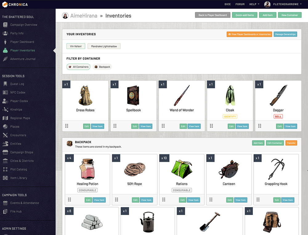 View and track your inventory and items on Chronica