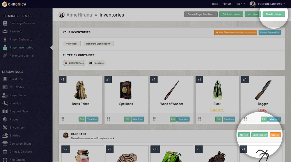 User containers in inventories to organize items