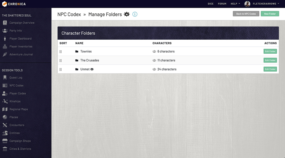 Manage folders to organize your characters within the campaign